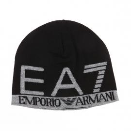 Bonnet EA7 noir à inscriptions gris clair