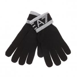 Gants EA7 noirs à inscriptions gris clair