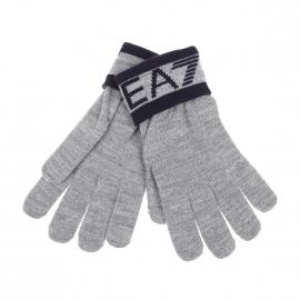 Gants EA7 gris clair à inscriptions bleu marine