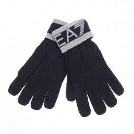 Gants EA7 bleu marine à inscriptions gris clair