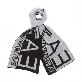 Echarpe EA7 noire à inscriptions gris clair
