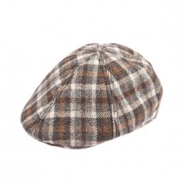 Béret casquette Gatsby Göttmann en laine à carreaux beiges et marron