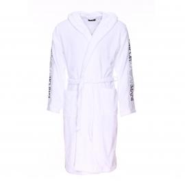Peignoir de bain à capuche Emporio Armani en coton blanc à inscriptions sur les manches