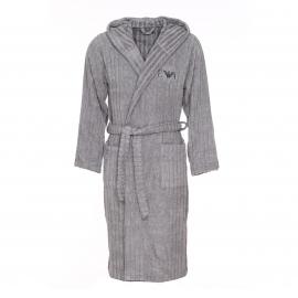 Peignoir de bain à capuche Emporio Armani en coton et modal gris clair à rayures verticales