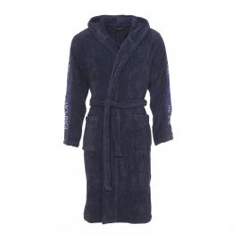 Peignoir de bain à capuche Emporio Armani en coton bleu marine à inscriptions sur les manches