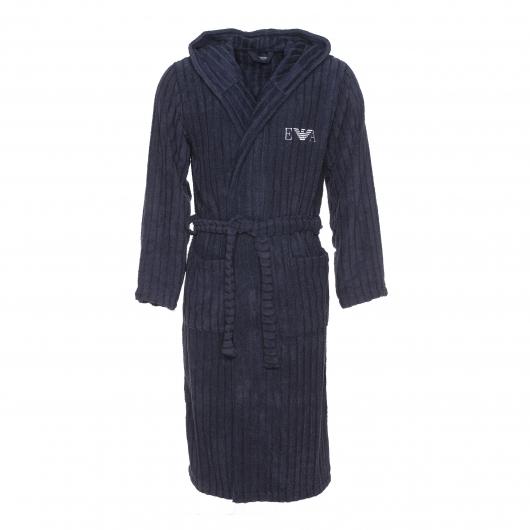Peignoir de bain capuche emporio armani en coton et modal bleu marine rayures verticales for Peignoir homme capuche