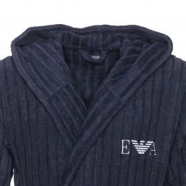 Peignoir de bain à capuche Emporio Armani en coton et modal bleu marine à rayures verticales