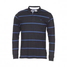 Polo manches longues TBS en coton noir à rayures bleues