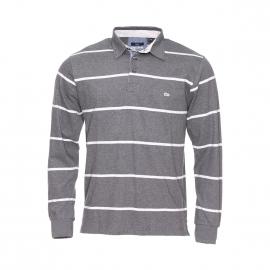 Polo manches longues TBS en coton gris à rayures gris clair