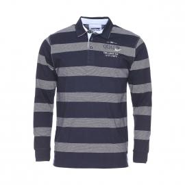 Polo manches longues TBS en coton bleu nuit à fines rayures blanches
