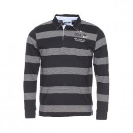 Polo manches longues TBS en coton noir à fines rayures blanches