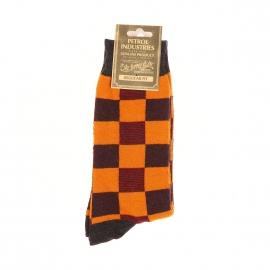 Chaussettes Petrol Industries à carreaux gris foncé et orange