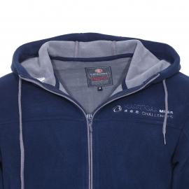 Sweat zippé à capuche Bermudes en tissu polaire bleu marine