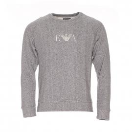 Sweat Emporio Armani en coton gris clair chiné à logo blanc effet vintage
