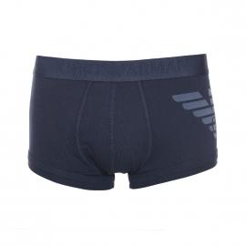 Boxer Emporio Armani en coton stretch bleu marine à logo Eagle gris