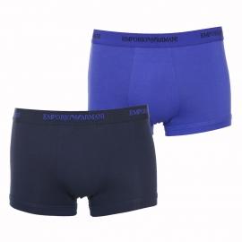 Lot de 2 boxers Emporio Armani en coton stretch : 1 modèle bleu roi et 1 modèle bleu nuit