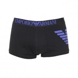 Boxer Emporio Armani en coton stretch noir à logo Eagle bleu