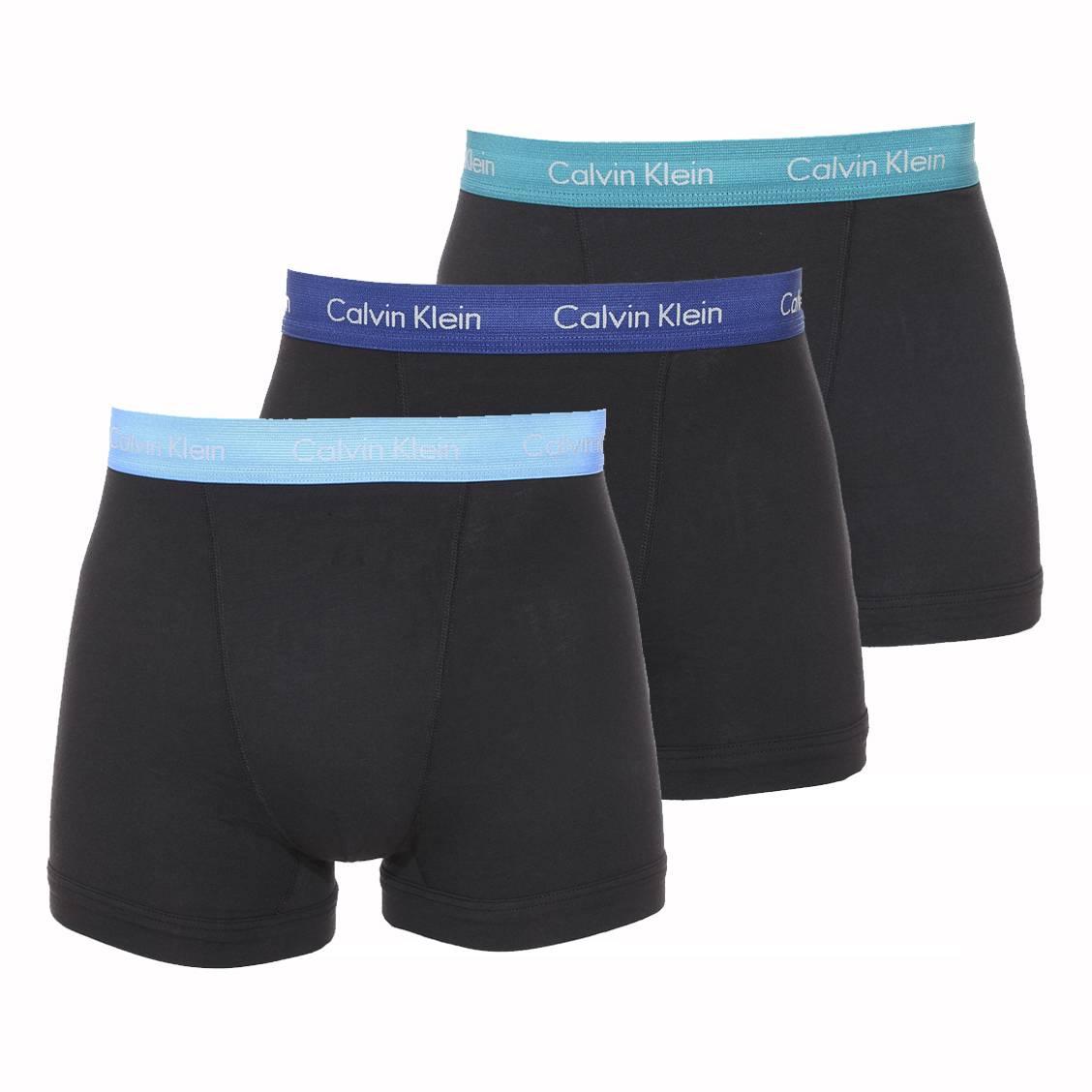 lot de 3 boxers calvin klein en coton stretch noir ceinture verte bleu clair et bleu marine. Black Bedroom Furniture Sets. Home Design Ideas