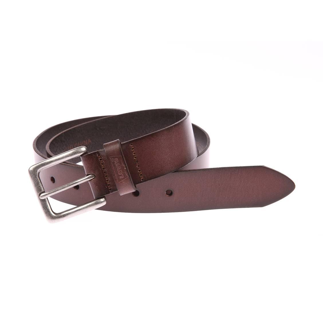 coffret levis ceinture boucle classique et porte cl s en cuir marron rue des hommes. Black Bedroom Furniture Sets. Home Design Ideas