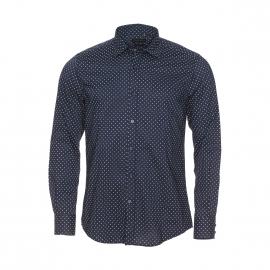 Chemise cintrée Antony Morato en coton bleu marine à petits losanges blancs