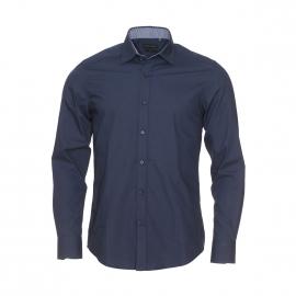 Chemise cintrée Antony Morato en coton bleu marine à opposition motifs bleus, noirs et blancs