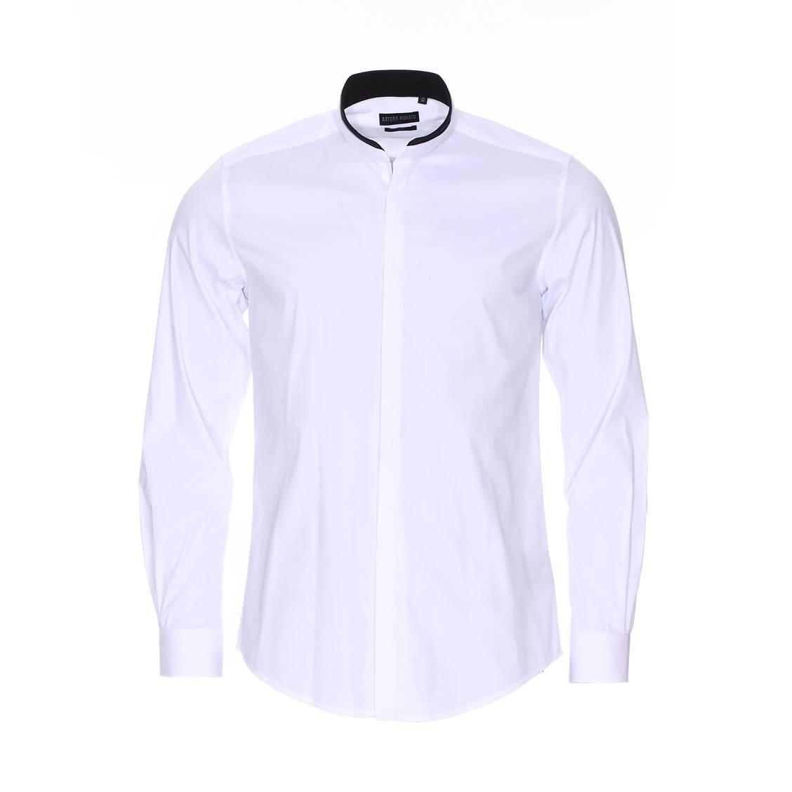 chemise cintr e antony morato en coton blanc col mao en simili cuir noir rue des hommes. Black Bedroom Furniture Sets. Home Design Ideas