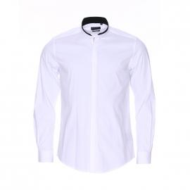 Chemise cintrée Antony Morato en coton blanc à col mao en simili cuir noir
