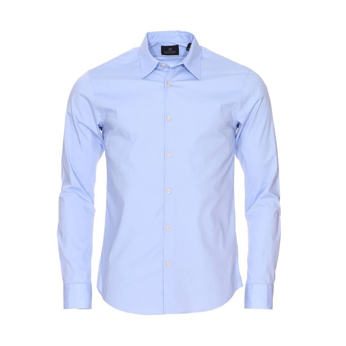 chemise manches longues scotch soda en coton stretch bleu ciel rue des hommes. Black Bedroom Furniture Sets. Home Design Ideas