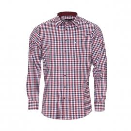 Chemise manches longues Seidensticker sans repassage à carreaux bordeaux, blancs et bleu foncé