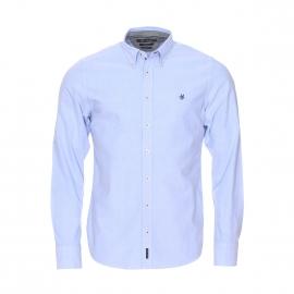Chemise cintrée Marc O'Polo en coton épais bleu ciel à opposition grise