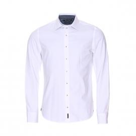 Chemise manches longues cintrée Marc O'Polo en coton blanc à opposition bleu foncé effet jean