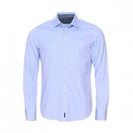 Chemise cintrée Marc O'Polo en coton bleu ciel à opposition bleu foncé effet jean