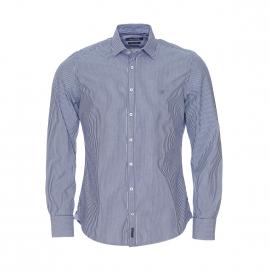 Chemise manches longues cintrée Marc O'Polo à rayures bleues et blanches