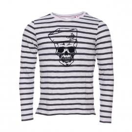 Tee-shirt manches longues col rond Tipenda Mister Marcel en coton flammé gris clair à rayures gris anthracite