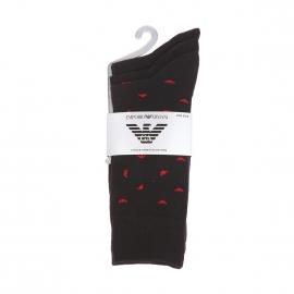 Lot de 3 paires de chaussettes en coton stretch Emporio Armani noires à logo Eagle rouge