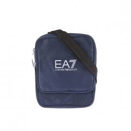 Sacoche à bandoulière EA7 bleu marine satinée et estampillée