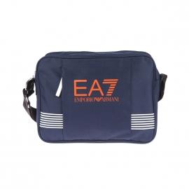 Besace EA7 bleu marine estampillée en orange