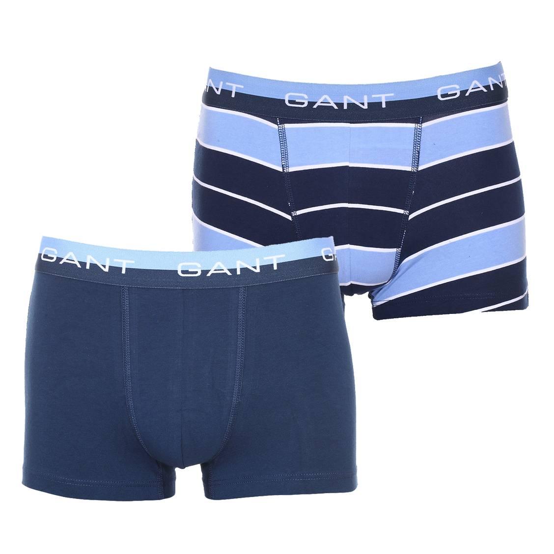 Lot de 2 boxers Gant en coton stretch : 1 modèle bleu marine et 1 modèle à rayures bleu marine, bleu clair et blanches