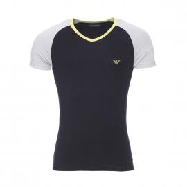 Tee-shirt col v Emporio Armani en coton stretch noir à manches grises