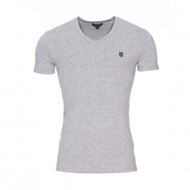 Tee-shirt col v Antony Morato en coton stretch et viscose gris chiné estampillé
