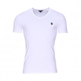 Tee-shirt col V Antony Morato en coton stretch blanc estampillé