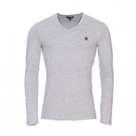 Tee-shirt manches longues Antony Morato en coton stretch et viscose gris chiné estampillé
