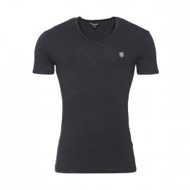 Tee-shirt col V Antony Morato en coton stretch noir estampillé