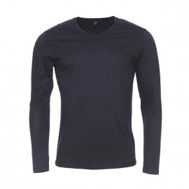 Tee-shirt manches longues Antony Morato noir à empiècements en simili-cuir ton sur ton