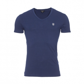 Tee-shirt col v Antony Morato en coton stretch bleu marine estampillé