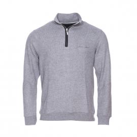 Pull col montant zippé Ethnic Blue en laine gris clair chiné