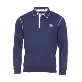 Polo Ethnic Blue bleu marine à opposition à carreaux bleus, roses et blancs