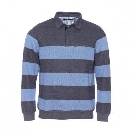 Polo Ethnic Blue à rayures bleu chiné et gris chiné