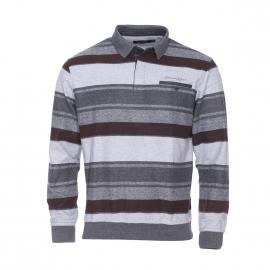 Polo Ethnic Blue à rayures grises et marron