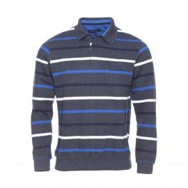 Polo Ethnic Blue gris anthracite à rayures bleu marine, bleu électrique et blanches